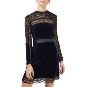 Topshop Blue Velour Lace Long Sleeve Mini Dress 4